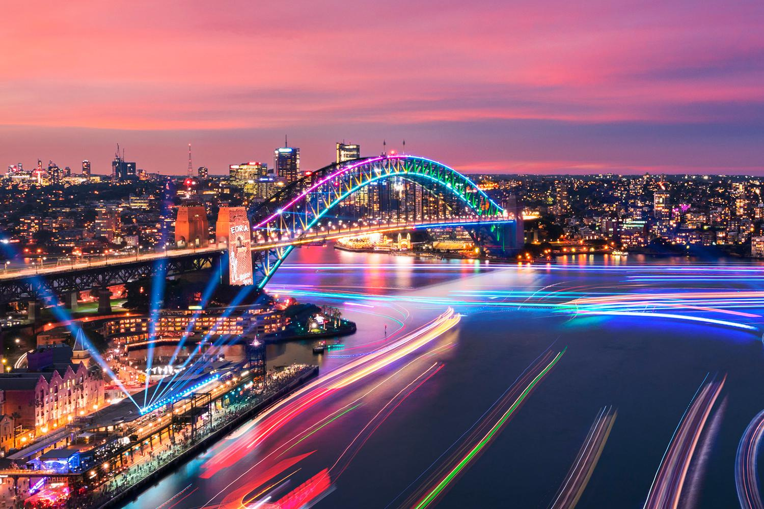 Views of Harbour Lights installations on marine vessels moving across Sydney Harbour during Vivid Sydney 2019